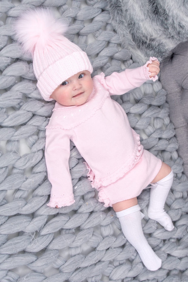 Pink Knitted Jumper And Frill Shorts