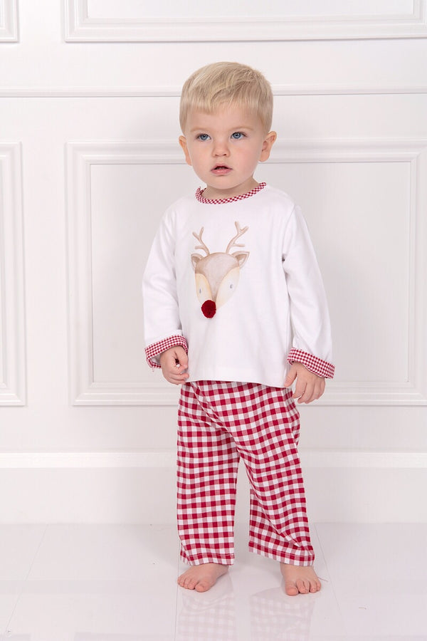 Laranjihna Red And White Checked Reindeer Pyjamas