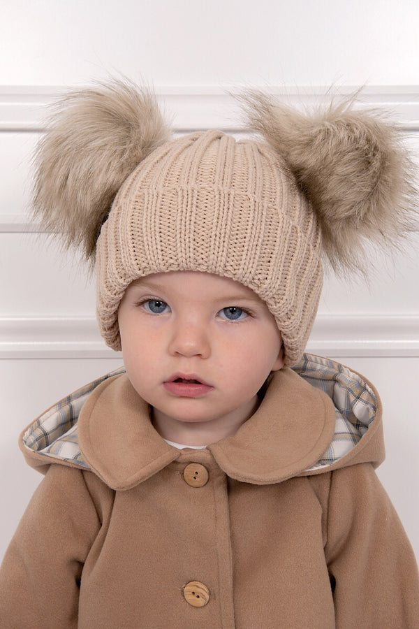 Beige Double Fur Pom Pom Hat