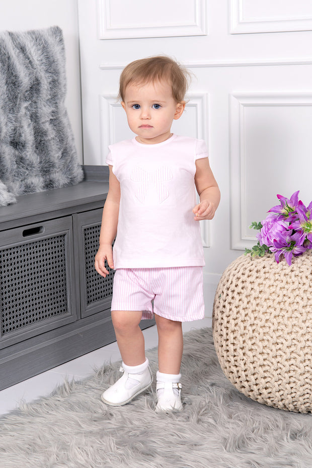 Pink Textured Bow Top And Shorts