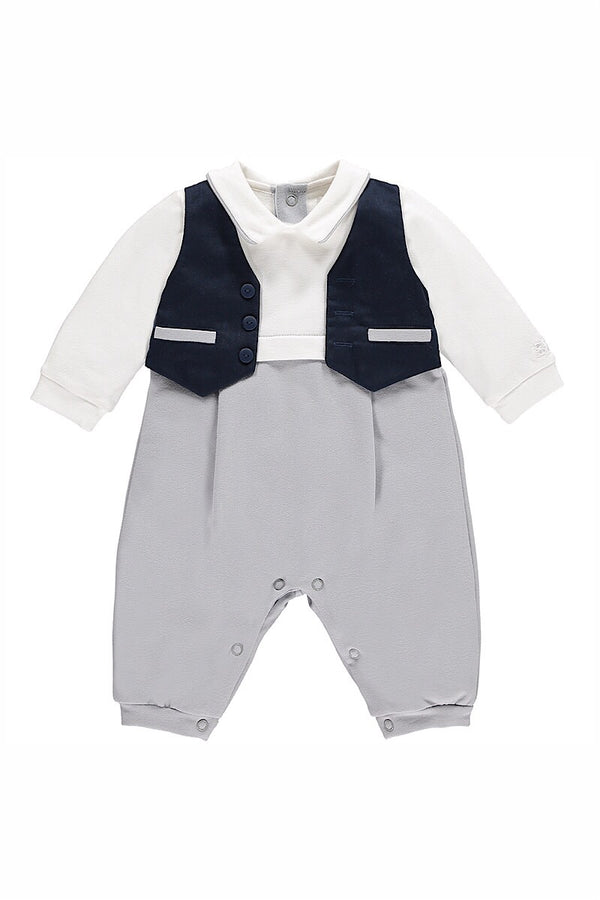 Emile Et Rose Boys Navy And Grey Smart Outfit
