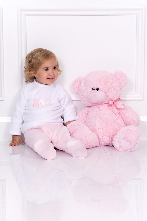 Babidu White And Pink Bear Velour Two Piece Set