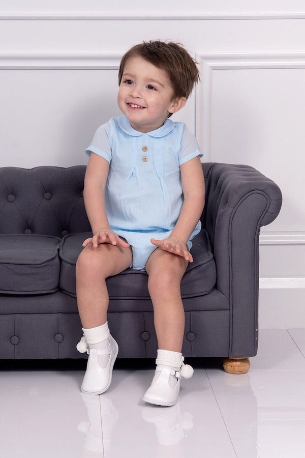 Babidu Blue Double Button Romper
