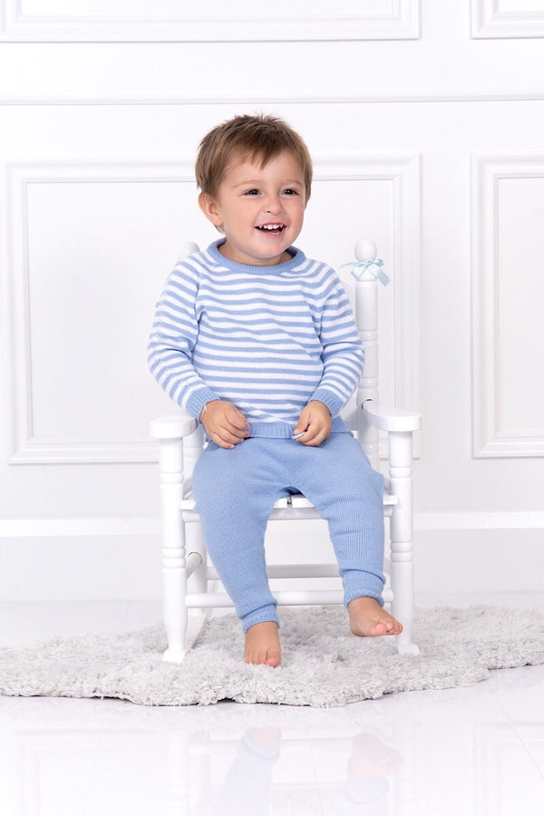 Jacob Matthews Blue And White Stripe Outfit