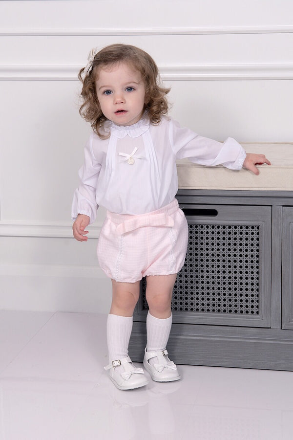 Kiriki White Bow Blouse With Pink Lace Shorts