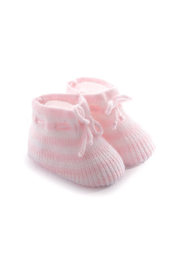 Pink Knitted Stripe Booties