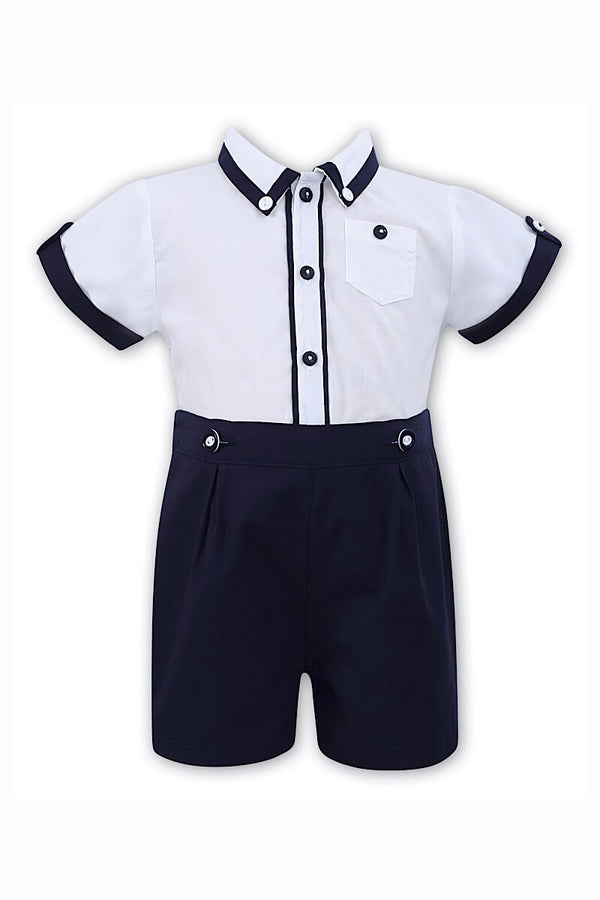 Sarah Louise Navy Shirt And Shorts Set