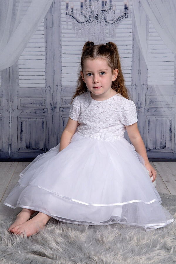 Sarah Louise White Ceremonial Laced Ballerina Dress