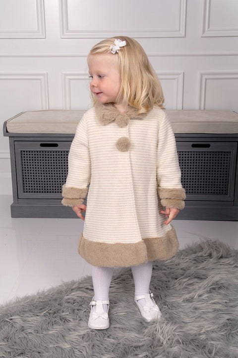 Cream And Beige Knitted Fur Coat