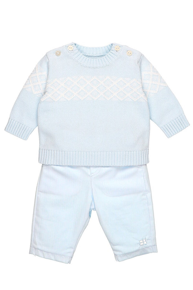 Blue Diamond Knit Jumper And Pants