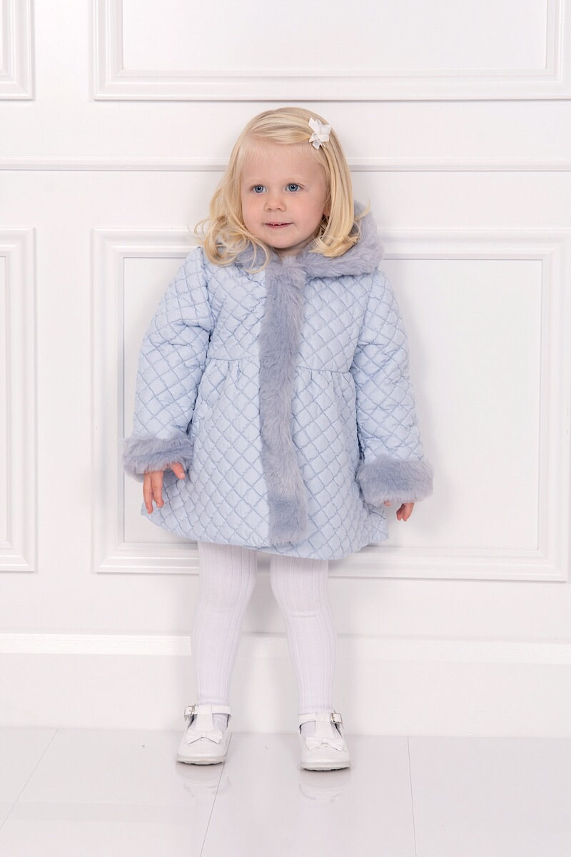 Patachou Blue Quilted Coat With Fur Trim