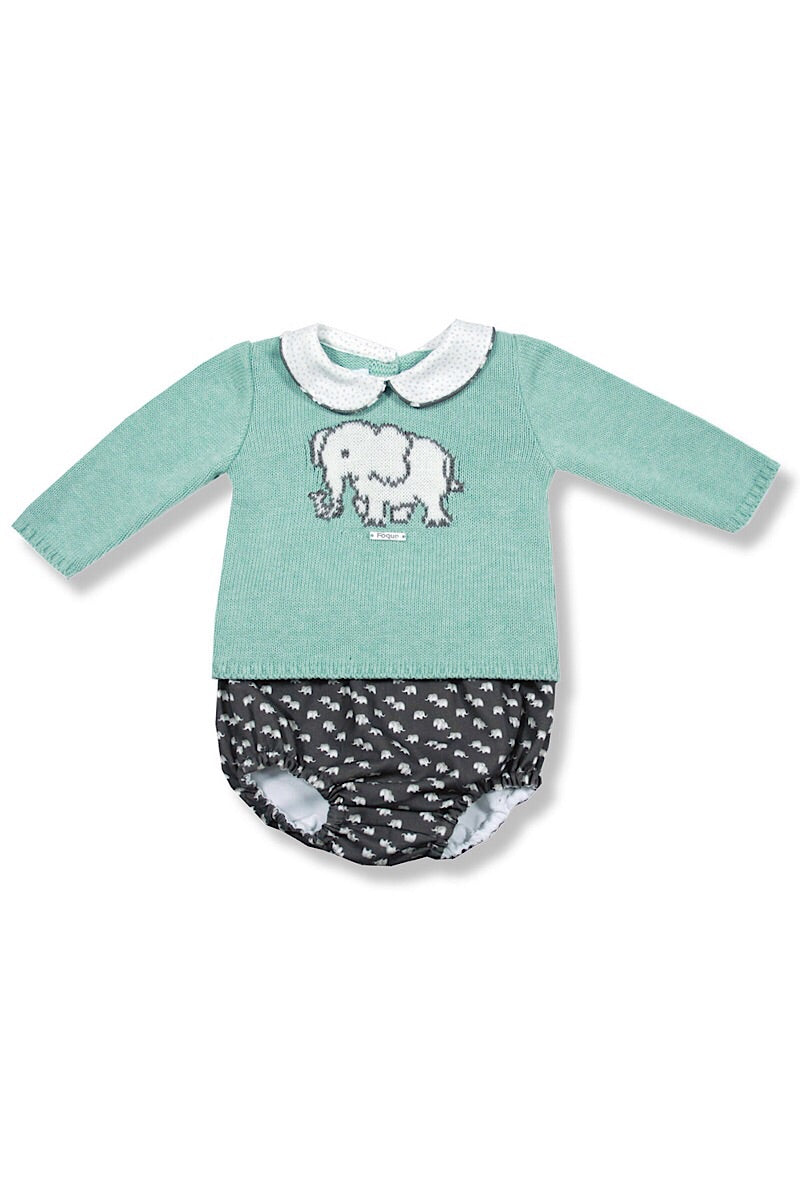 Foque Boys Mint Elephant Jumper And Shorts