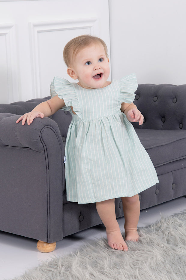 Green Stripe Frill Dress