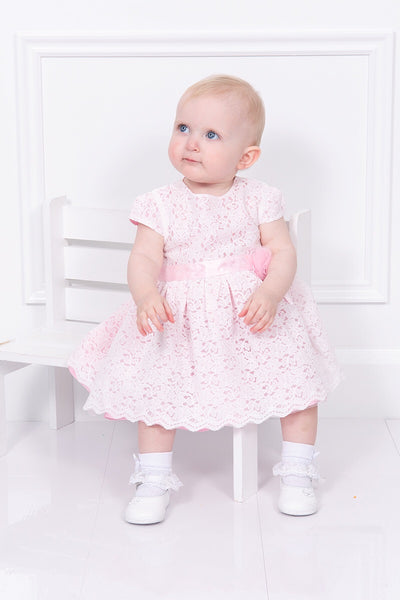 Mintini Pink Netted Flower Dress And Bloomers
