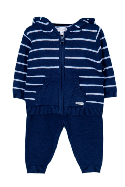 Navy Stripe Knitted Tracksuit