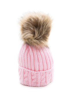 Pink Knitted Cable Hat With Dark Beige Fur Pom Pom
