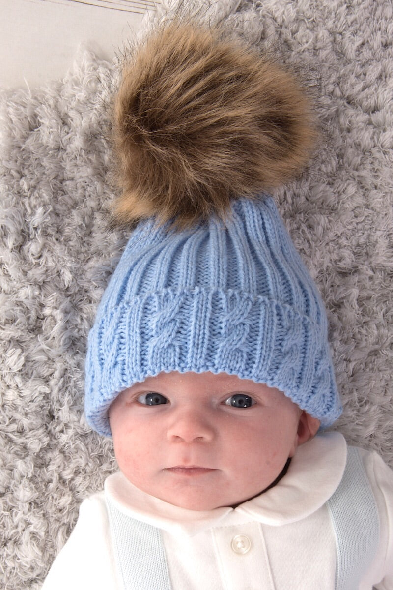 Blue Knitted Cable Hat With Dark Beige Fur Pom Pom