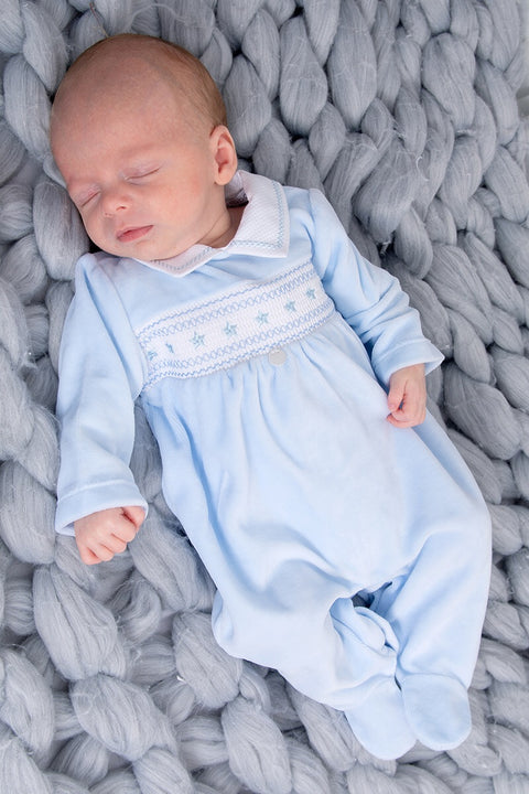 Blue Velour Star Smocked All In One