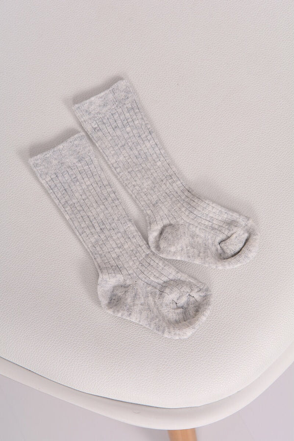 Grey Ribbed 3/4 Socks
