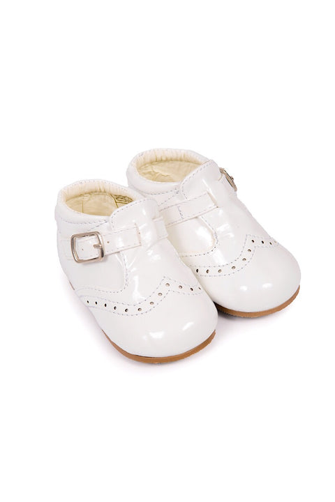 White Buckle Up Hard Sole Shoes