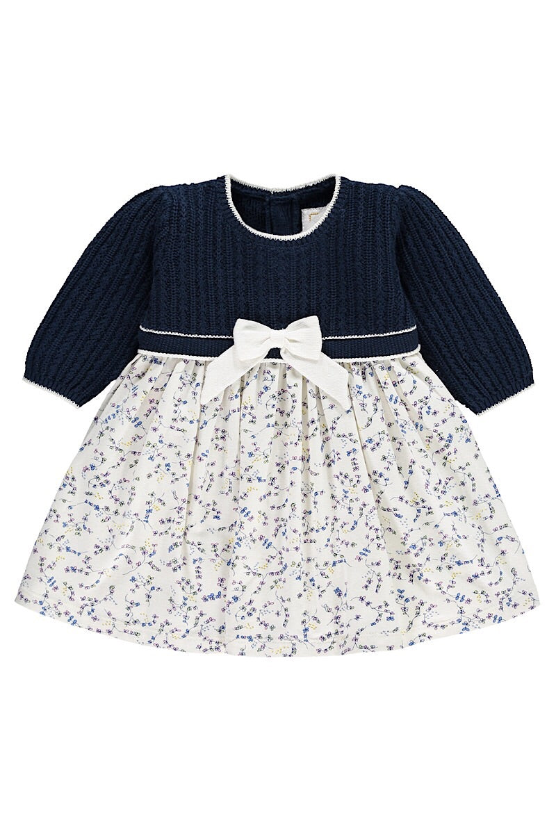 Emile Et Rose Navy And White Floral Dress With Tights