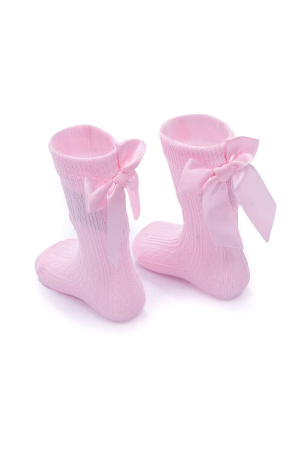 Pink Ribbon Bow Socks