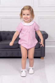 Pink Double Button Romper With Frill Collar