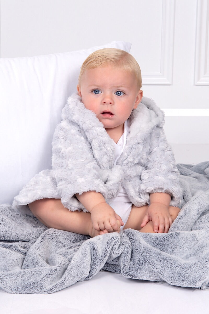 Grey Hooded Swirl Dressing Gown