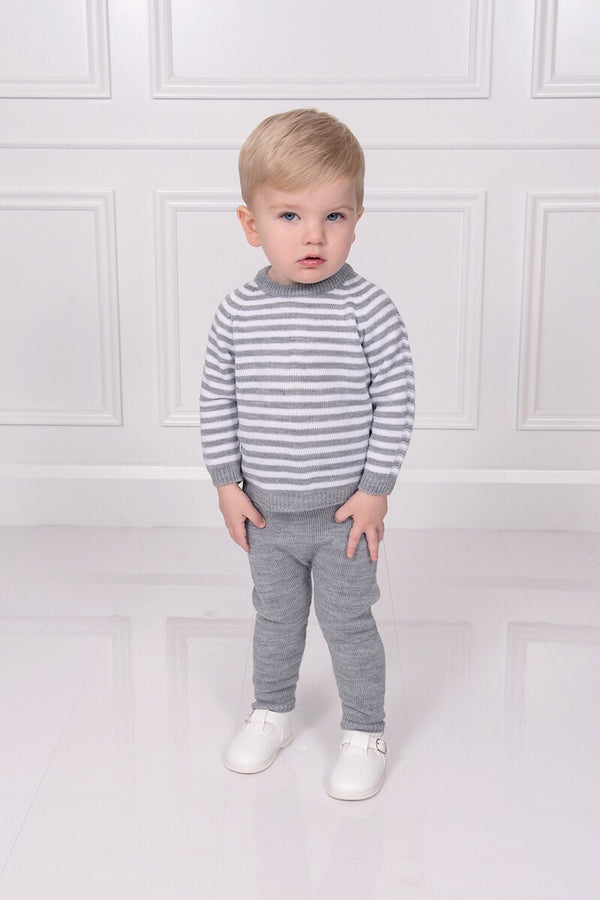 Jacob Matthews Grey And White Stripe Outfit