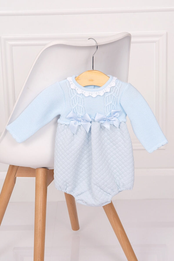 Spanish Blue Half Knit Quilted Bow Romper