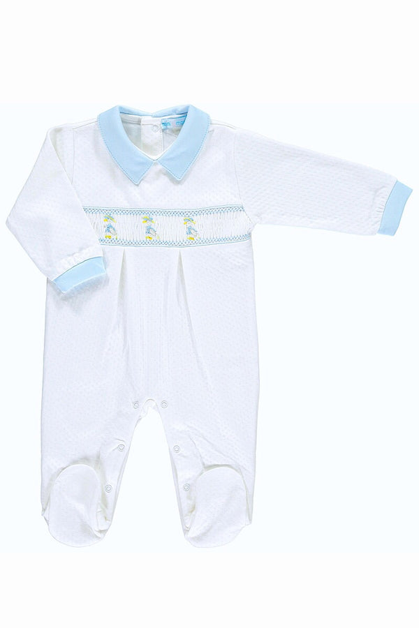 White And Blue Puddle Duck Smocked Jacquard All In One