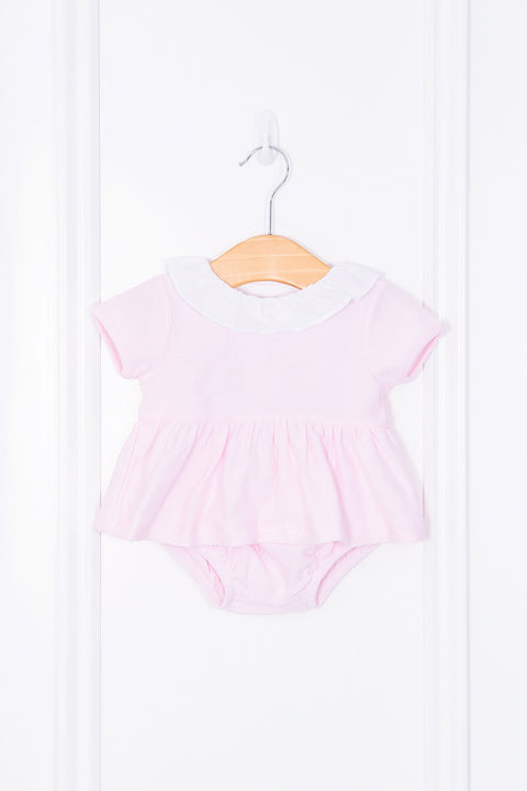 Pink Waffle Dress And Bloomers