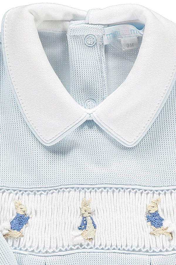 Peter Rabbit Smocked Blue And White Knit All In One