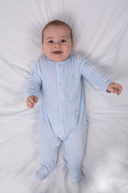 Blue Woven Stripe ABC Bunny Velour All In One