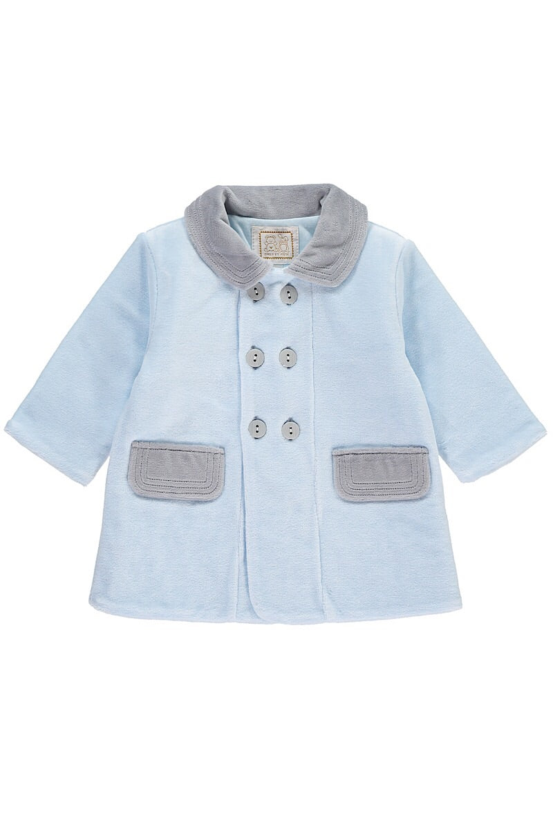 Emile Et Rose Blue And Grey Velour Coat