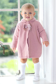 Rose Pink Knitted Dress With Bow Coat