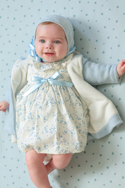 Ivory And Blue Leaf Print Dress
