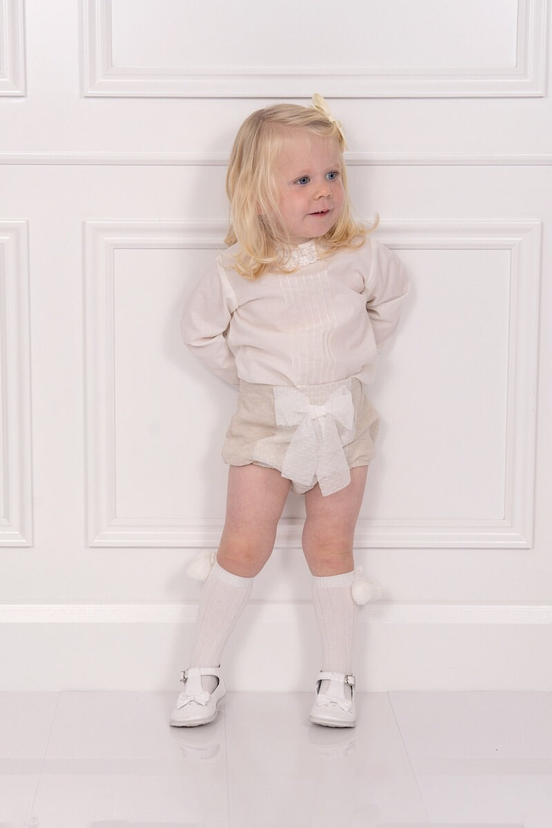 Granlei Beige Bow Shorts With Ivory Pleat Blouse