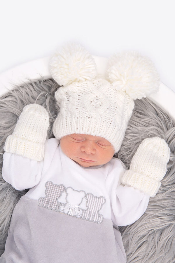 Cream Double Pom Pom Cable Hat With Mittens