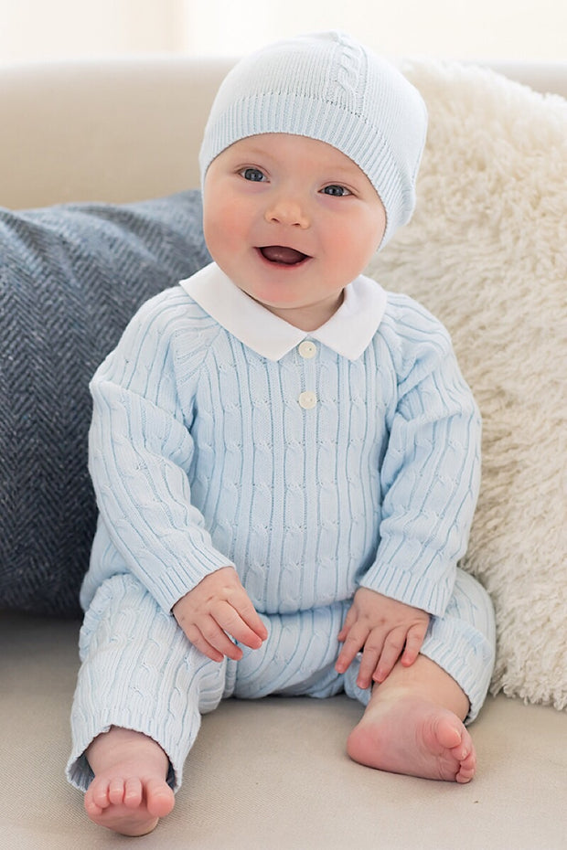 Blue Weave Knit Romper With Hat
