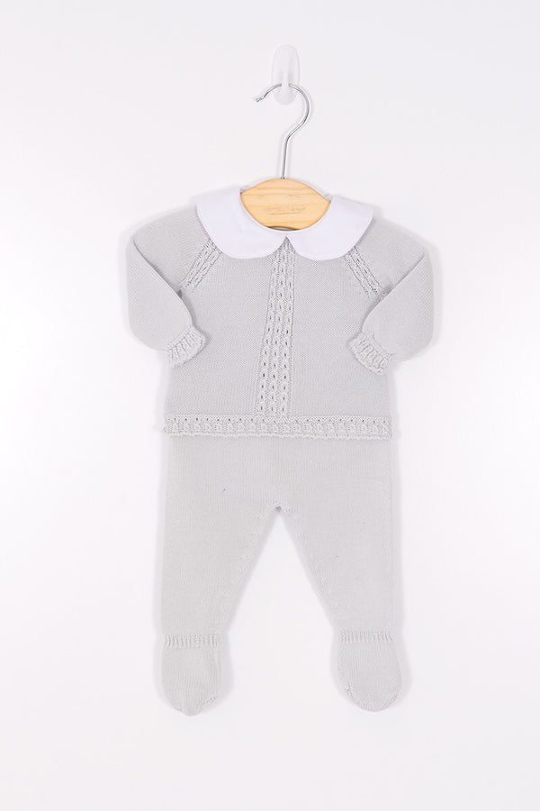 Jacob Matthews Grey Knitted Cable Top And Pants With Feet