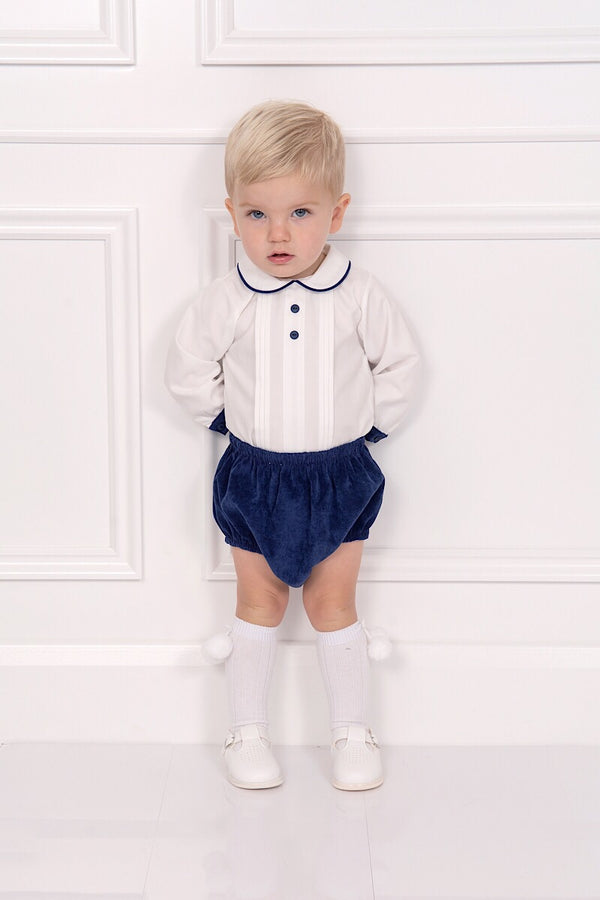 Abella White Pleated Shirt With Navy Pants