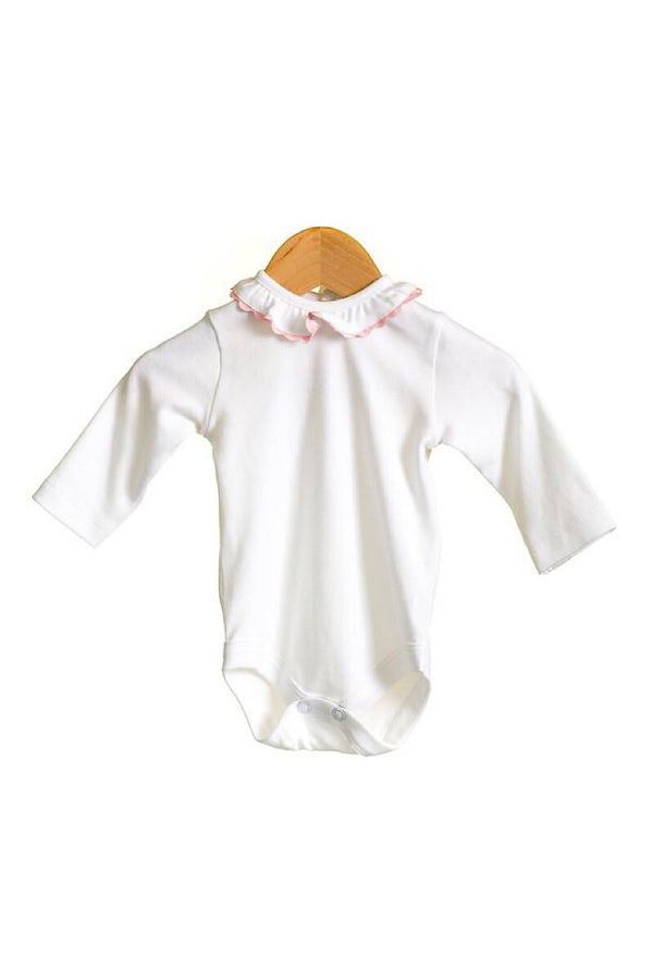 White/Pink Frill Peter Pan Bodysuit
