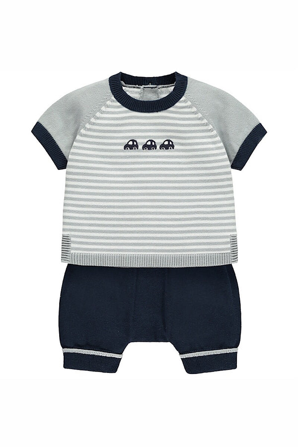 Emile Et Rose Navy Boys Striped Car Knit Outfit