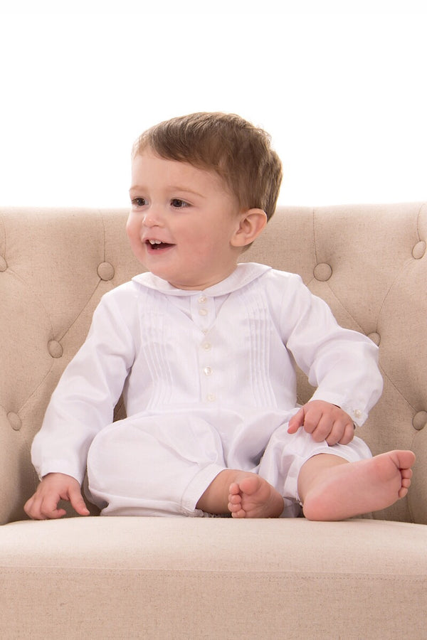Sarah Louise White Long Sleeve Integrated Waistcoat Romper And Bonnet