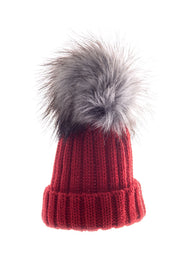 Red And Grey Large Fur Pom Pom Hat