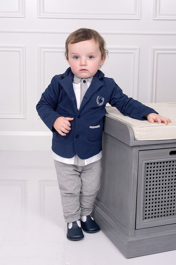 ... Coco White And Grey Top And Pants With Navy Jacket 29982823bf59