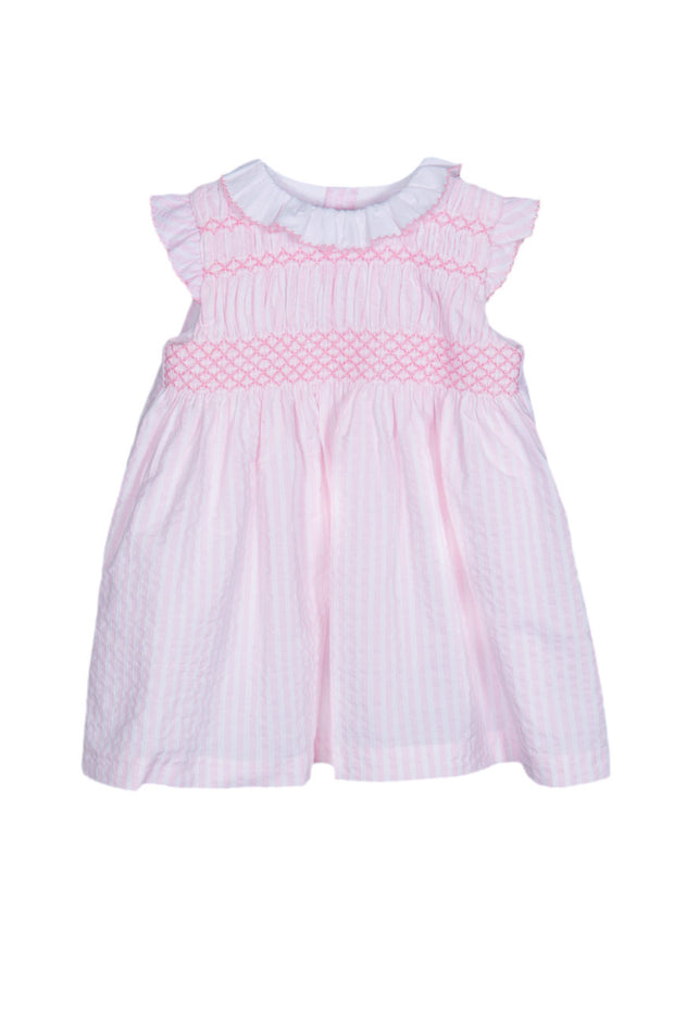 Pink Stripe Smocked Dress