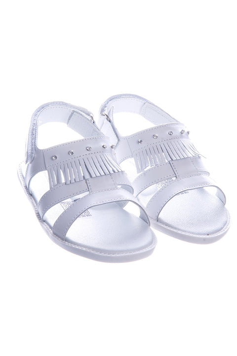 Pex Cleo White Hard Sole Diamante Sandals