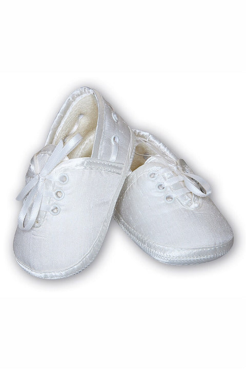 Ivory Ribbon Laced Mock Silk Shoes